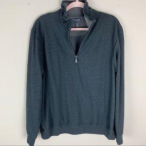 Van Heusen Flex Dark Gray Half-Zip Pullover LG